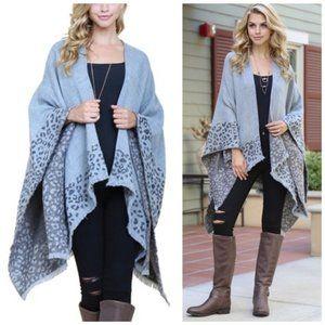 Gray leopard print shawl cardigan poncho sweater